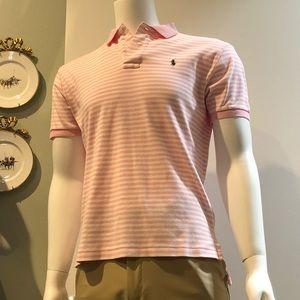 Polo Ralph Lauren Pink/White Striped Knit Polo